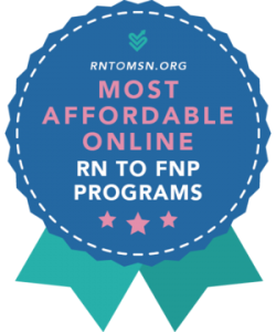 Rankings Badge for Most Affordable RN to FNP Programs