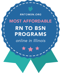 Rankings Award Badge for the Most Affordable RN-BSN Programs in Illinois