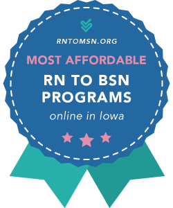 Rankings Badge for Iowa's Most Affordable RN to BSN Programs of 2021